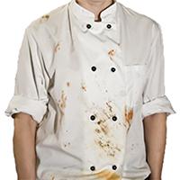 厨房服(コックコート)や作業着の油汚れを落とし、良い印象を与えるには?